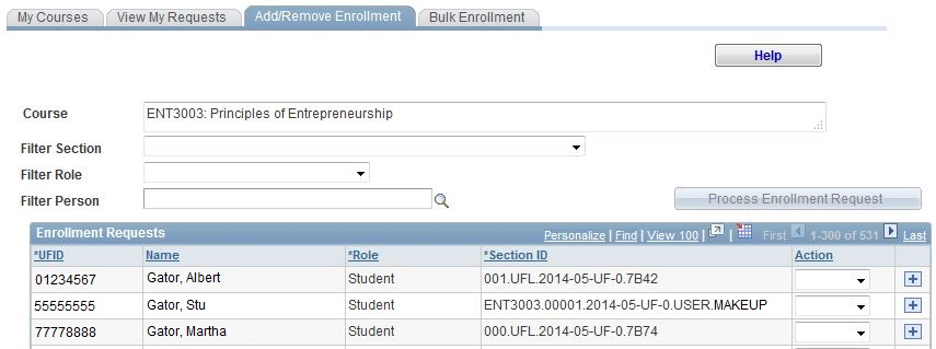 Manage enrollment
